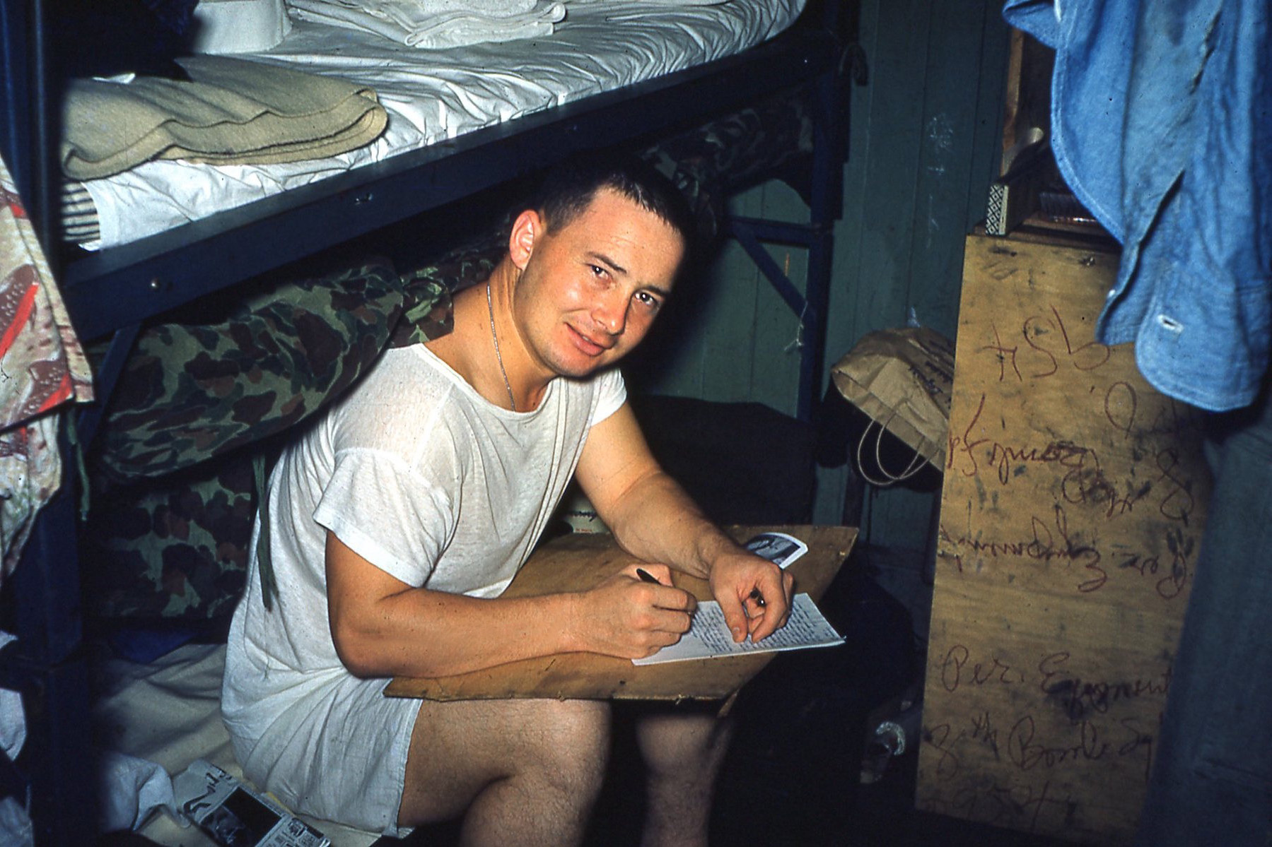 Bob writing home